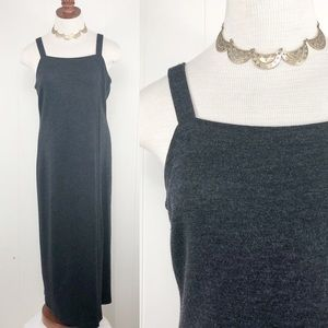 GARNET HILL Dark Gray Long Dress 100% Wool Stretch